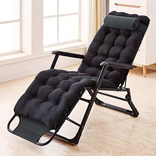 Cama plegable que acampa plegable cama individual Cuna Descanso for comer silla con cojín de algodón for de interior Oficina Balcón Patio Playa al aire libre del visitante cama (Color: Negro, Tamaño: