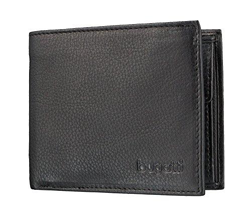 Bugatti Geldbörse Sempre mit Fach für Karte, 10cm, schwarz