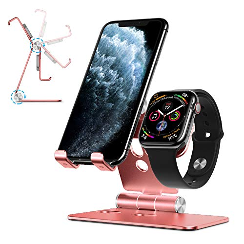 OMOTON Apple Watch Stand, Handy Halter 2 in 1 für iPhone/Samsung/Huawei, Tisch Halterung für Apple Watch Series 5/4/3/2/1 und Telefons, Aluminium Phone Ständer/Apple Watch Dockingstation, Rose Gold