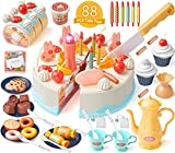 GeyiieTOYS 88tlg Schneide Spielzeug, Geburtstagstorte für Spielküche und Kaufmannsladen mit Kerzen, Gebäcke, Schokolade für Mädchen ab 4 5 6 Jahre, für Tea Time Rollenspiel
