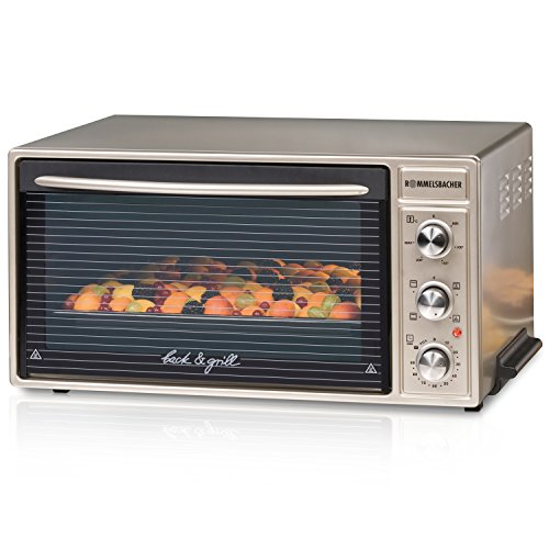 ROMMELSBACHER Back & Grill Ofen BG 1650 - 40 Liter Backraum, Temperatur von 60 - 250 °C, 4 Heizarten inkl. Umluft und Grill, Innenbeleuchtung, versenkbare Knebel, Zeitschaltuhr, 1650 Watt