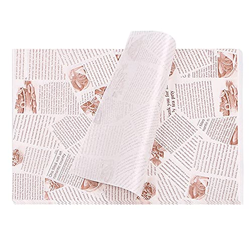 Lebensmittelverpackungs Papier, 100 Blatt Wachspapier für Lebensmittel, Butterbrotpapier Antihaft, für Burger, Butterbrot, Käse, Pommes(14*10 Zoll)