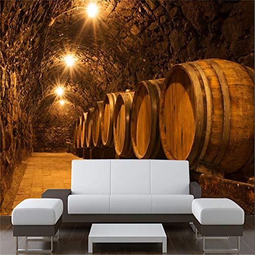 Papel Pintado Fotomurales MuralesPapel tapiz fotográfico 3D personalizado Barriles de roble en el túnel de la bodega antigua Mural de la bodega Cerveza Bar de vinos KTV Decoración industrial P