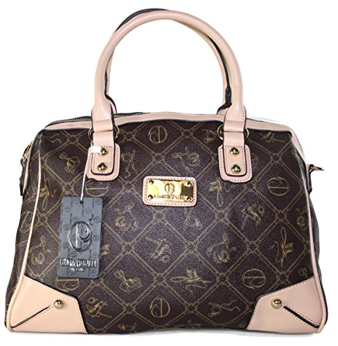 # 432 Giulia Pieralli Damen Glamour Handtasche Coffee/Beige Damentasche Tasche Henkeltasche Kunstleder