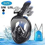E-MANIS Masque Snorkeling 180° Plein Visage Tuba de Plongée Anti-Buée et Anti-Fuite Tissus, Pliable Détendu Respiration sous-Marine Support Caméra de Sport, pour Adultes et Enfants L/XL - Bleu Noir