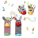 4 x Baby Rasseln Spielzeug Handgelenk Und Socken Plüschtiere Armband Handgelenk Rassel für Kinder Lernspielzeug (2 Hände Rasseln 2 Socken Rasseln)