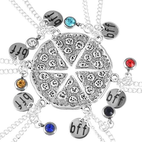 MJARTORIA Silber Farbe Pizza Slice freundschaftsketten 6 Stück Halskette mit Gravur BFF CZ Kristall Kette- Personalisiert mit Ihrem eigenen Wunschnamen Geburtsstein Gravur Buchstaben Initialen
