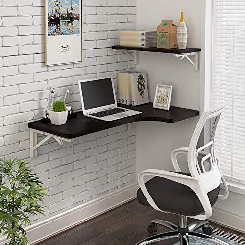 @MJK Escritorio de la computadora montado en la pared del hogar - Mesa plegable de la pared Escritorio de la computadora de la esquina en forma de
