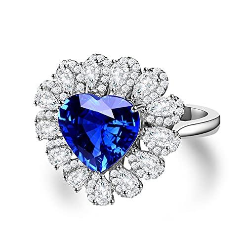Amody Anillo Compromiso Oro Blanco Mujer, Anillos de Matrimonio 2.5Ct Corazón Forma Zafiro con 1.158Ct Lágrima Diamante Tamaño 6,75-25