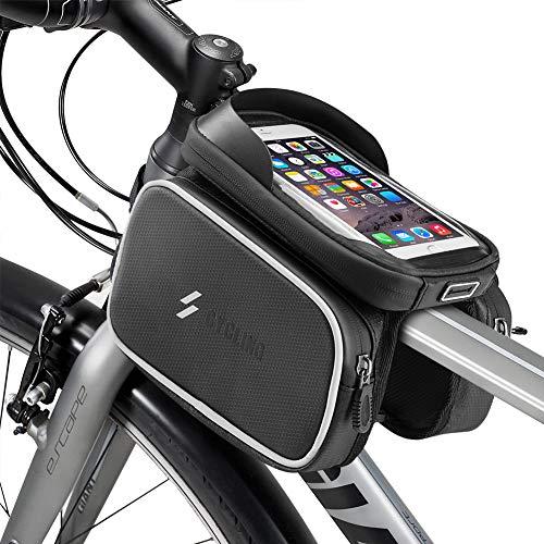 E-More Borse da Telaio da Bicicletta Impermeabile Bicicletta Borsa Telaio con Borsa per Telefono Touch Screen in TPU e Articolo Riflettente Ciclismo Bicicletta Telaio Borsa del Telefono Cellulare