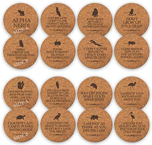 TANGRA Funny Party Cork Coasters Set of 8 Double Sided Laser Engraved with 16 Quotes. Have Fun for Birth Day for Man or Woman. Large Absorbent Bar Drinking Coaster for Table Office Coffee Mug
