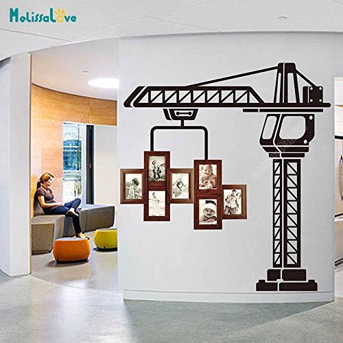 Creatieve fotolijst decoratie kraan sticker boortoren sticker vinyl muur woondecoratie babykamer verwijderbare vinyl muursticker <> 42x51cm