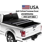 Soft Tri-Fold Truck Bed Tonneau Cover for 1994-2003 Chevy S10 Regular(Standard)/ GMC S15/ Sonoma Regular(Standard)/ Extended Cab 6FT Bed, 1996-2000 Isuzu Hombre Regular(Standard)/ Extended Cab 6FT Bed