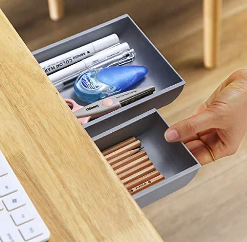 2個セット テーブル下 ミニ引き出し 収納ケース スライド収納ボックス デスク下 隠し収納 小物入れ 在宅勤務 両面テープ付き リモコン ペン はさみ 文房具 カトラリー 整理整頓