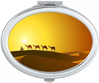 Sunset All the Way to the Silk Road Camel Desert Mirror Portable Fold Hand Makeup Double Side Glasses