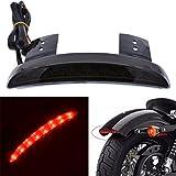 Parafango a pezzi color fumo KaTur, per bordo di moto, con 8 luci a LED rosse, che si illuminano quando si frena, fanale posteriore per moto, per Harley Sportster XL 883N 1200N, XL1200V, XL1200X.