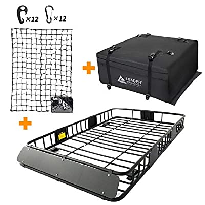 "Leader Accessories Roof Rack Cargo Basket Set, Car Top Luggage Holder 64""x 39""x 6"" + Waterproof Rooftop Cargo Carrier Bag + 3' x 4' Super Duty Bungee Cargo Net Stretches to 6' x 8'"