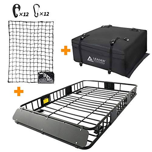 """Leader Accessories Roof Rack Cargo Basket Set, Car Top Luggage Holder 64""""x 39""""x 6"""" + Waterproof Rooftop Cargo Carrier Bag + 3' x 4' Super Duty Bungee Cargo Net Stretches to 6' x 8'"""