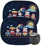 HECKBO® Parasol Autoadhesivo para Coche - protección Solar para niños (2 Piezas) | Los animales en el tren | 44x36cm | protección solar para ventanillas de coche | con Bolsa Incl