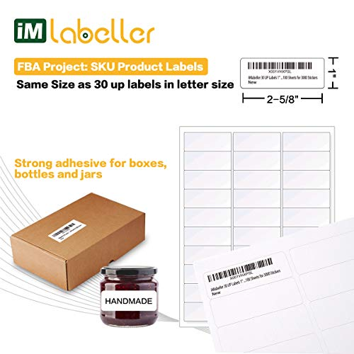 "iMlabeller 30 UP Labels 1"" X 2-5/8"" FBA Labels for Amazon Product SKU Inkjet and Laser Printer Mailing Labels, 100 Sheets for 3000 Stickers Photo #3"