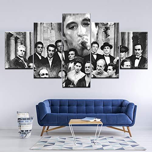 5 Stücke Goodfellas Pate Scarface HD Leinwand Malerei Sopranos Wandkunst Wandmalerei Für Poster Papier Drucken Wohnkultur,B,20×35×2+20×45x2+20x55×1