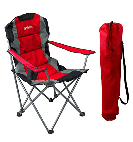 GigaTent Red Folding Camping Chair – Ultra Lightweight Collapsible Quad Padded Lawn Seat with Full Back, Arm Rests, Cup Holder and Shoulder Strap Carrying Bag – Powder Coated Steel Frame