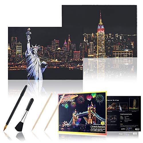 Koogel Kratzbilder, 16 Baltt 200 x 140 mm Scratch Paiting Paper Weltberühmte Sehenswürdigkeiten Beschichtete Bunte Kratzpapier mit Werkzeug Set für Erwachsene