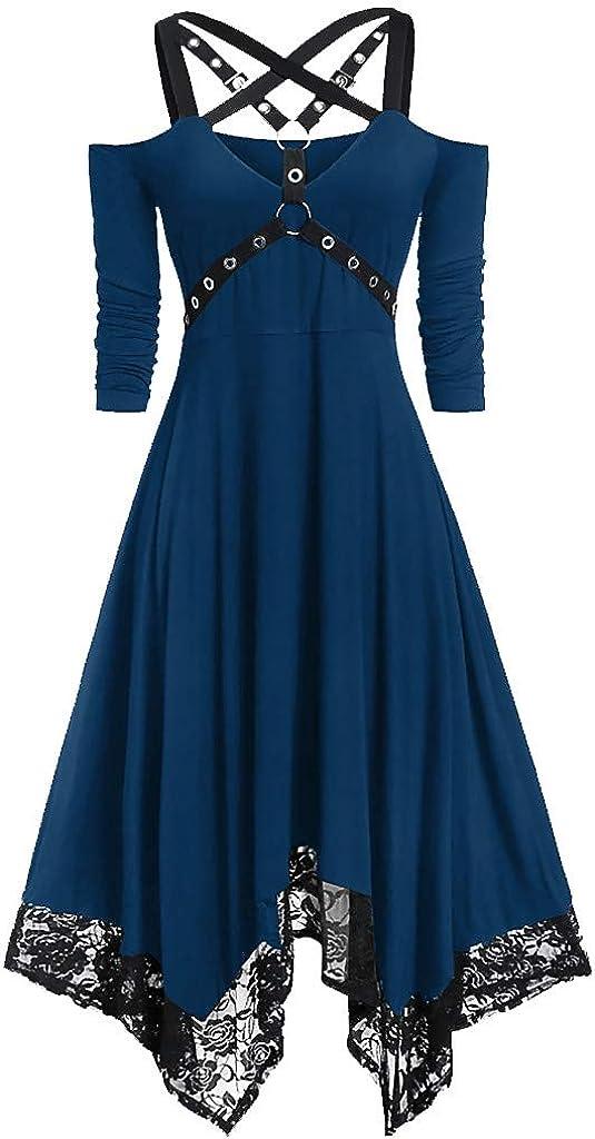 Masbird Halloween Costumes for Women Plus Size Gothic Dress Half Sleeve Criss Cross Fancy Medieval Lace Swing Dress
