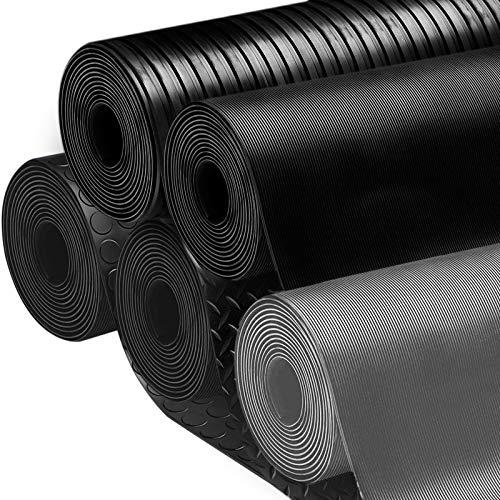 Revêtement de sol etm® tapis caoutchouc | antidérapant, résistant, isolant | intérieur ou extérieur | nombreux modèles et tailles | tapis noir strié (large), 120x150cm