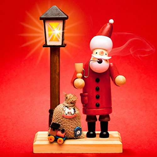 Sikora RM-A-LED Holz Räuchermännchen mit batteriebetriebener beleuchteter LED Laterne, Farbe/Modell:A24 Weihnachtsmann mit LED Laterne, Größe:Höhe ca. 18.5 cm