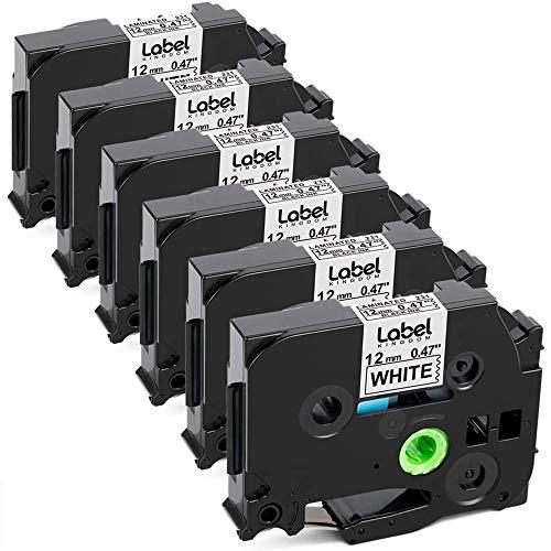 Label KINGDOM Compatible Label Tape Replacement for Brother TZe-231 TZe231 P Touch Label Tape 12mm 0.47'' Laminated White TZ-231 for PTouch Label Maker PT-D210 PT-H110 PT-D400AD PT-P710BT, 6-Pack