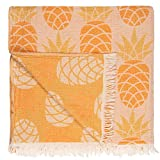Beach Towels, Organic Bath Towel, Cool Pineapple Designs with Double Layer 100% Cotton Muslin, Prewashed Peshtemal for Picnic Blanket, 37 x 71 Inches (Melon)