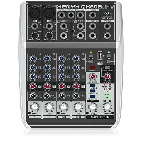 Behringer QX602MP3 6 Input 2 Bus Mixer mit Xenyx Pre-amps und MP3 Player