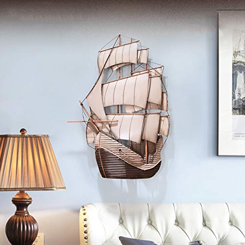 CCCYT Wanddeko Schiff Metall Segelboot Segel Boot Maritim Deko Wandobjekt Segelschiffe Aus Eisen Wandbild Segelboote 3D Wandbild Aus Metall Wandschmuck Wanddeko Wandverzierung Deko-Objekt
