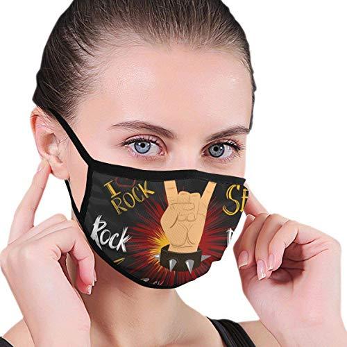Rock'n'Roll Hand Sign.Vector illustratie stof halfgezichtsmasker mondmasker met oorbeschermers winddicht masker