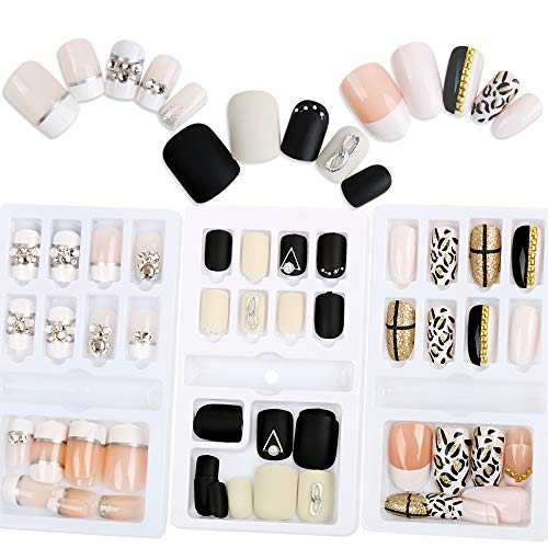 VINFUTUR 3 Boxes 72Pcs Press on Finished False Nail Kits Artificial Stick On Wearable Fake Nail Tips Retro Marble Dots Flower Full Cover Nail Art Manicure with Tools (A)