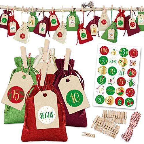 Papierdrachen 24 Adventskalender Stoffsäckchen zum Befüllen - klassischer Weihnachtskalender - Stoffbeutel zum selber Dekorieren und Basteln - Geschenksäckchen - Baumwolle - Rot-Grün - Nummer 20