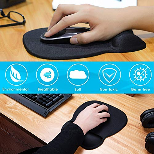 MROCO Ergonomic Mouse Pad with Wrist Support Gel Mouse Pad with Wrist Rest, Comfortable Computer Mouse Pad for Laptop, Pain Relief Mousepad with Non-slip PU Base for Office & Home, 9.4 x 8.1 in, Black Photo #6