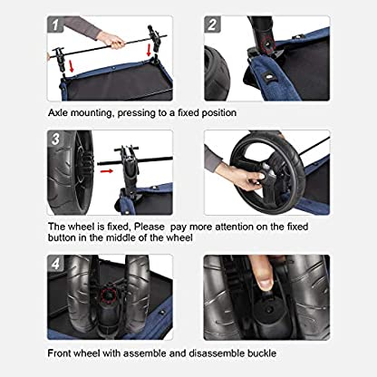 Pet Four-wheeled Stroller Dog Trolley Cat Carts Foldable for Medium Large Dogs Outgoing, Load Within 60kg (Blue) 6
