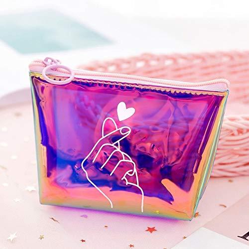 Transparent Cosmetic Bag Fashion Travel Makeup Bag Zipper Make Up Organizer Pouch Toiletry Student Pencil Pouch C-Purple