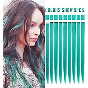 Beauty Shopping Rhyme 9PCS 21″ Colored Clip in Hair Extensions Blue Hair