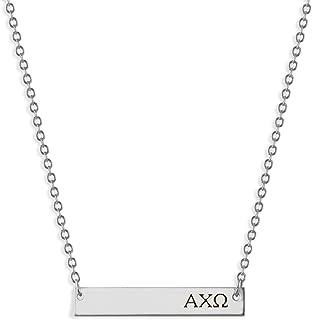 A-List Greek Alpha Chi Omega Sorority Bar Stamped Necklace