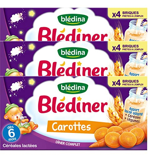 Blédina Blédîner, Céréales bébé Lactées, Carottes, Dès 6 Mois, 250 ml (Lotx12)