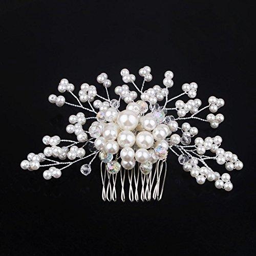 Utsunomiya® 1stück desingner Luxe Peigne de cheveux peigne Argenté avec une grande perles fleurs dans le milieu, mariage bijoux cheveux bijoux