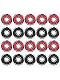 20 Pièces Roulements de Skateboard Longboard Roulements à Roulettes à Patins 608 2RS, Rouge et...