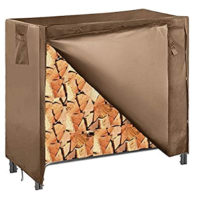 Kisworm 4ft Outdoor Firewood Rack Cover Waterproof, Log Rack Cover, Heavy Duty 600D Oxford Fire wood Holder Covers (with Zipper and Velcro)