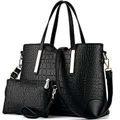 "MATERIAL: High Quality PU Leather Texture:Alligator Grain,Purses and Handbags CLOSURE: Top Zipper Closure, Handbags for Women DIMENSIONS: 13.3""W x 9.4""H x 5.1""D, Handle Drop Length: 6.6"" POCKETS: 1 Exterior Back Zipper Pocket,2 Interior Zipper Pocket..."