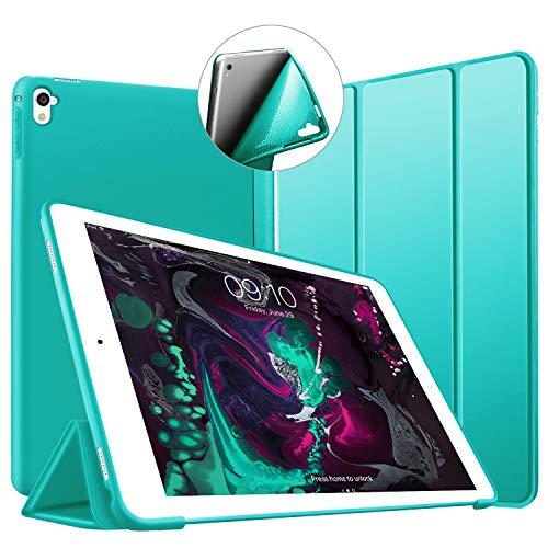 VAGHVEO Funda para iPad Pro 9,7 2016, Ultra Delgada Smart Carcasa con Auto-Sueño/Estela Función, Flexible de Goma Suave Cover Protectora Estuche Plegable para Apple iPad Pro 9.7 Pulgadas, Menta Verde