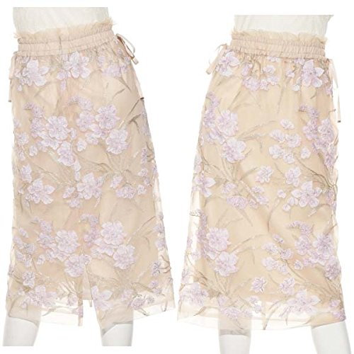 LilyBrown(リリーブラウン)『フラワー刺繍チュールタイトスカート』