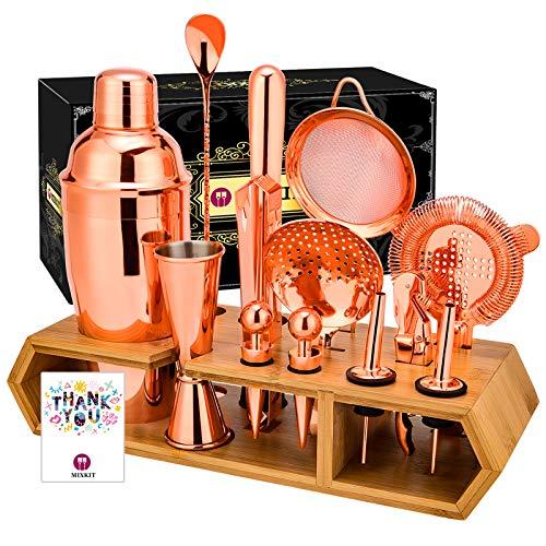 MIXKIT Bar Set Cocktail Shaker Set Bartender Kit - 18pcs Cocktail Set Bar Tools Set Bar Kit Cocktail Kit Bar sets for the home Bartending Kit with Bamboo Stand Drink Recipe